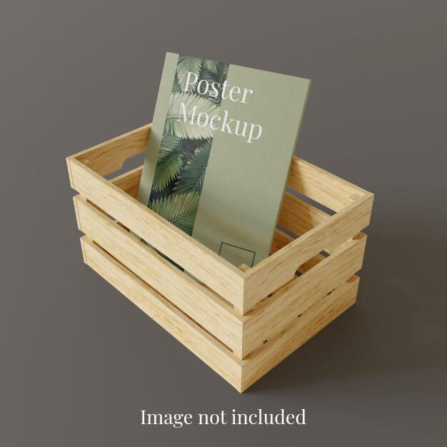 Poster mockup in storage wood box Premium Psd