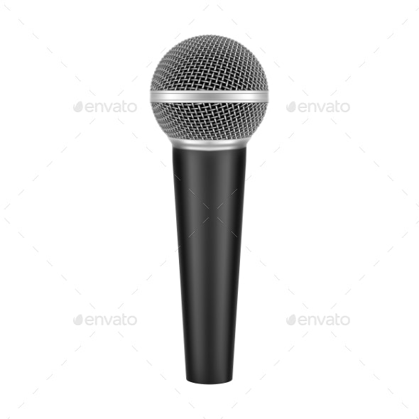 Realistic Vector 3D Modern Microphone with Handle