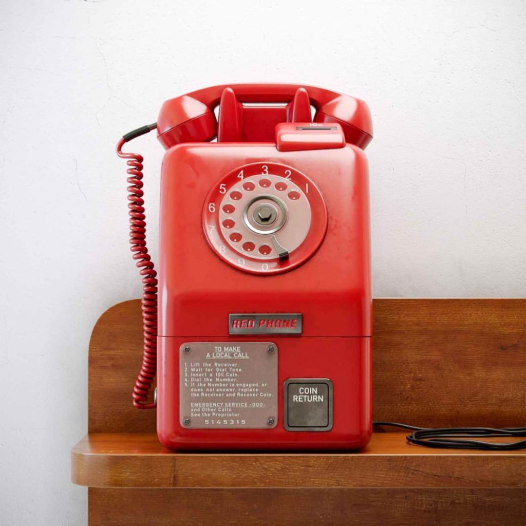 Red Retro Old Phone 3D Model