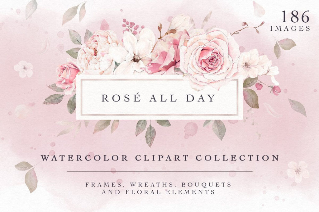 Rose Watercolor Clipart & Invitation