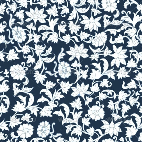 Seamless Floral Watercolor Pattern Background