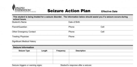 Seizure Action Plan Template In PDF