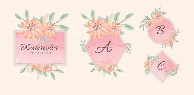 Set of feminine geometric badge with pink watercolor background and flowers Premium Psd