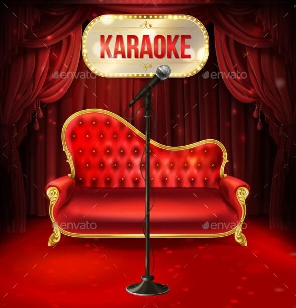 Vector Karaoke Concept Red Sofa with Microphone