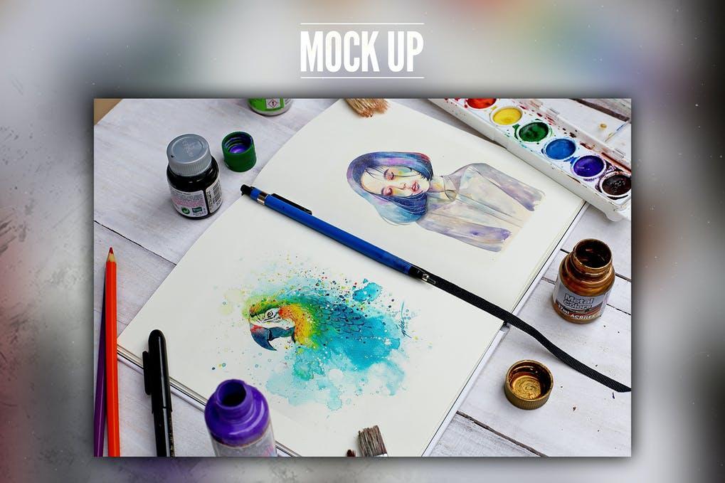 Watercolor Book Mock Up