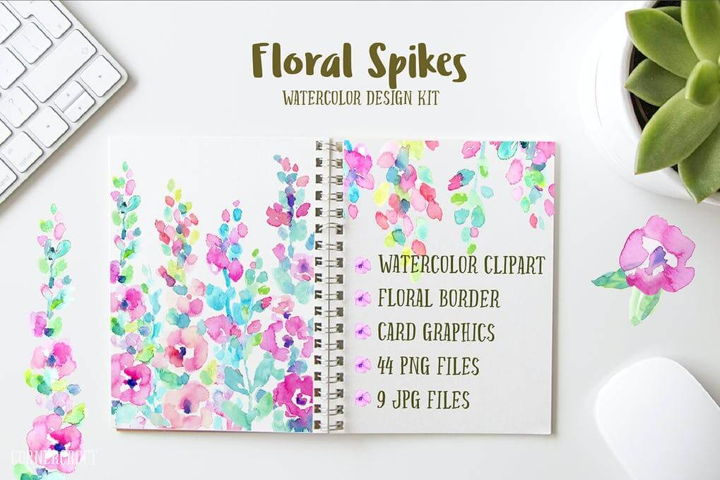 Watercolor Design Kit Floral Spikes