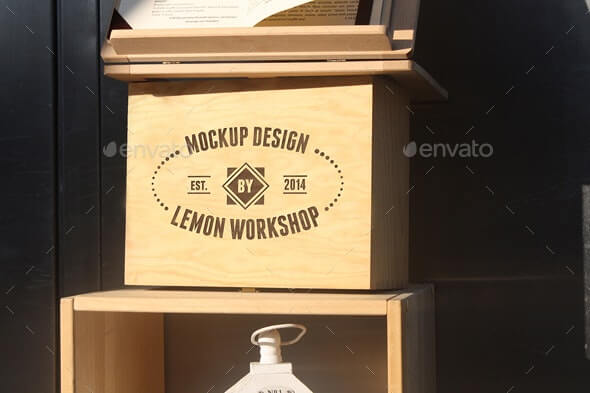 Wood Box Engraved Logo Mockup