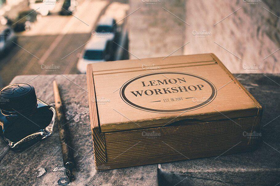 Wooden Box Retro Mockup, 3 vesions