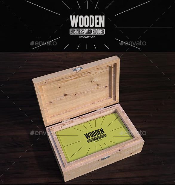 Wooden Business Card Holder Mock-Up