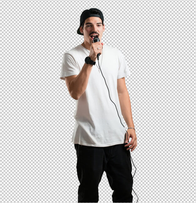 Young rapper man happy and motivated, singing a song with a microphone Premium Psd
