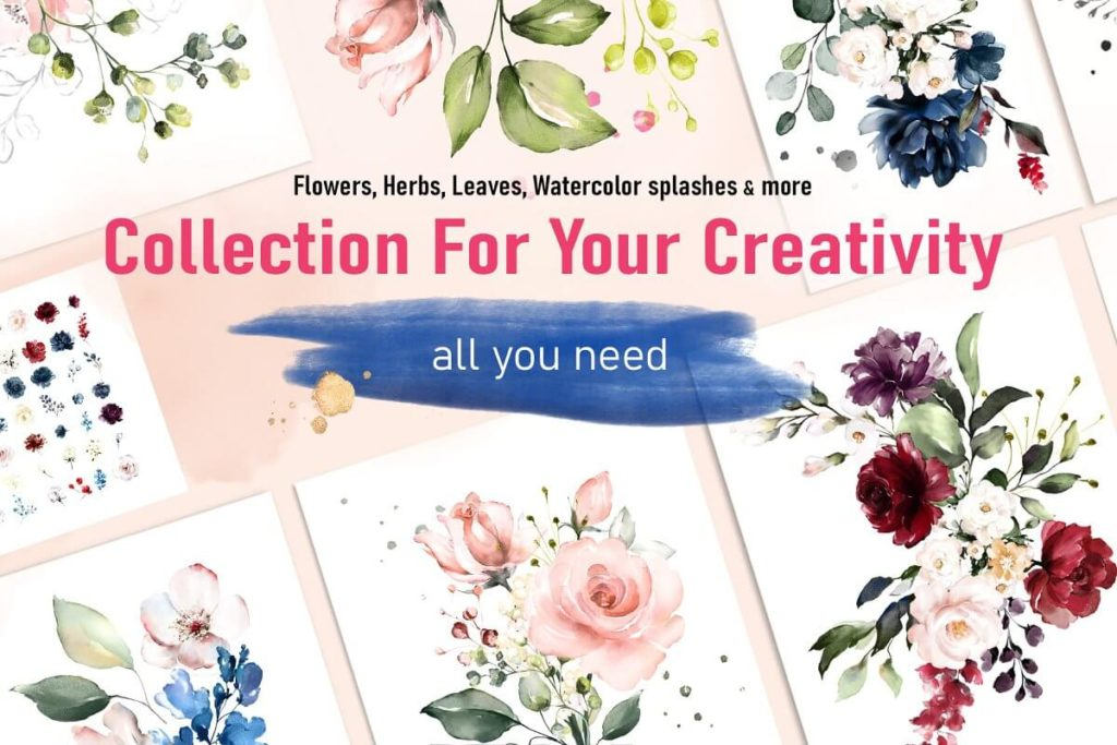 huge watercolor floral collection