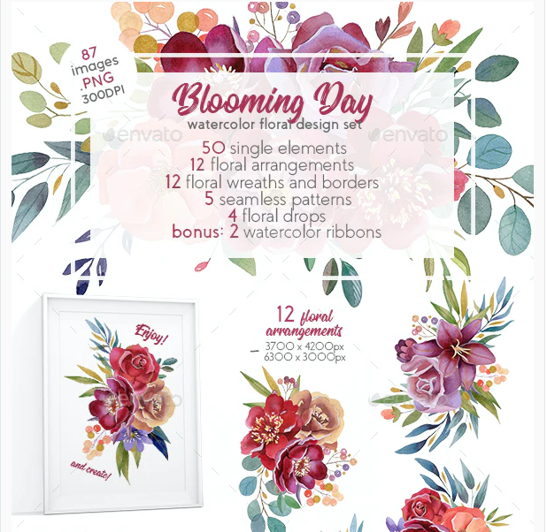 Blooming Day Watercolor Design Set (Clipart)
