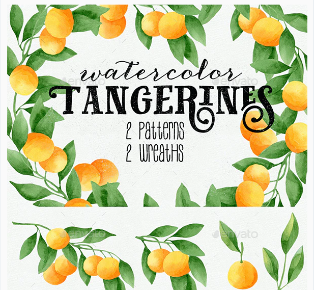 Watercolor Tangerines Clipart and Patterns