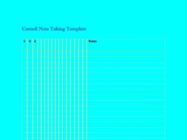 Cornell Note Taking Template in DOC