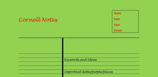 Cornell Notes Template in DOC