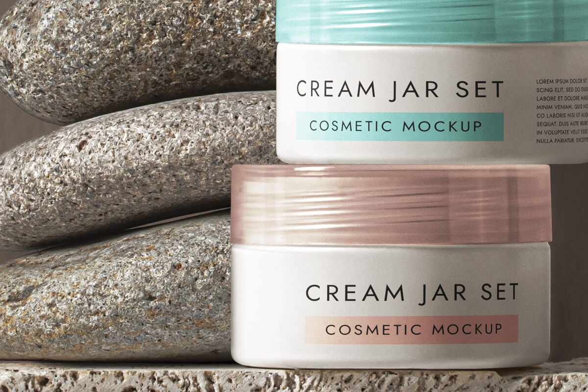 Cosmetic Psd Cream Pot Mockup Set