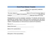 Event Press Release Template in DOC