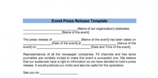 Event Press Release Template in DOC
