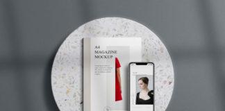 Free A4 Magazine Mockup Scene (PSD)