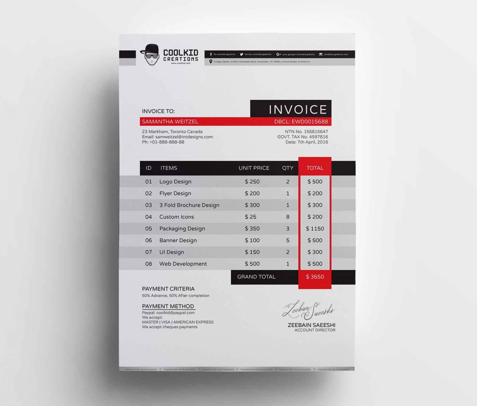 Free Business Invoice Template (AI)