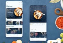 Free Food Recipes App Template (Sketch)