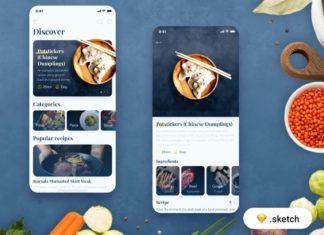Free Food Recipes App Template (Sketch)
