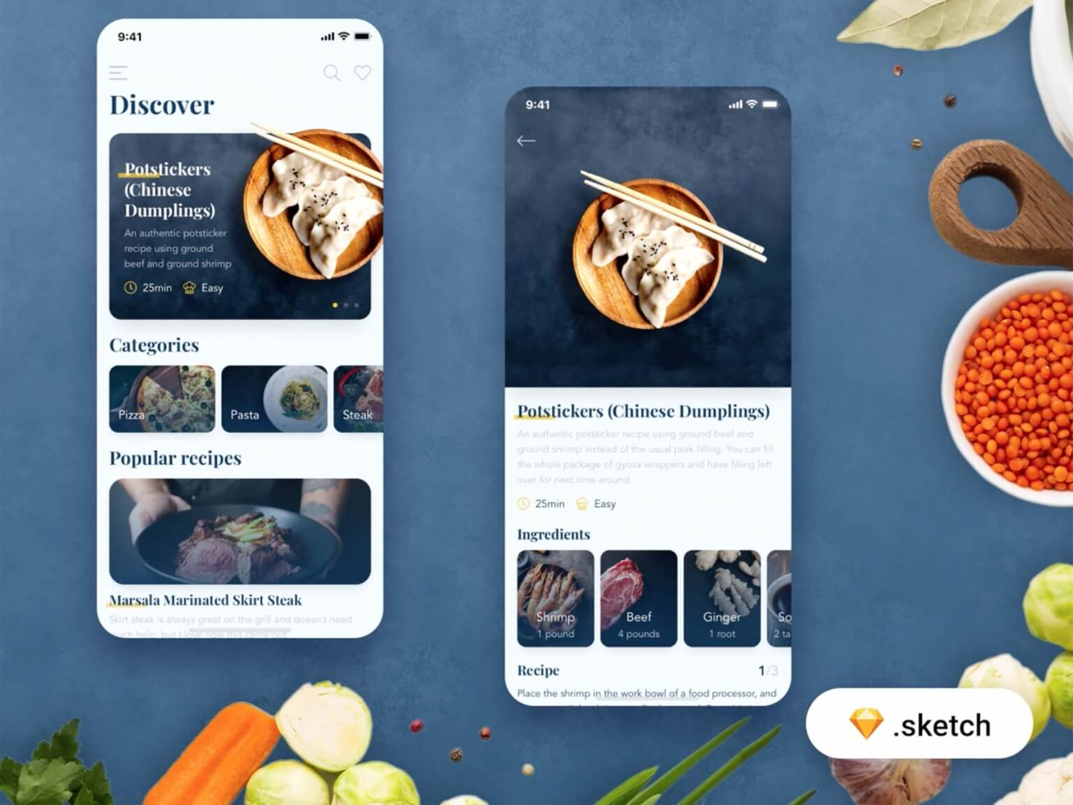 Free Food Recipes App UI UX Template