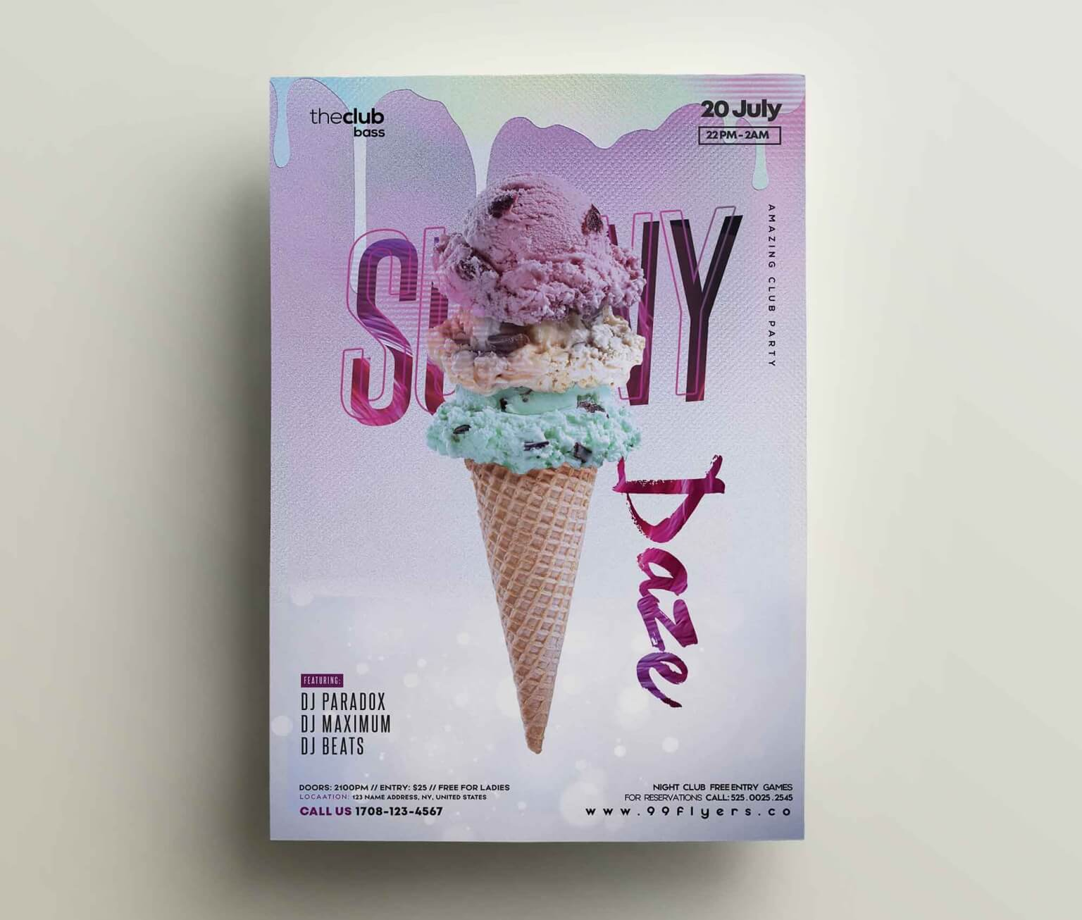Free Ice Cream Flyer Template (PSD)