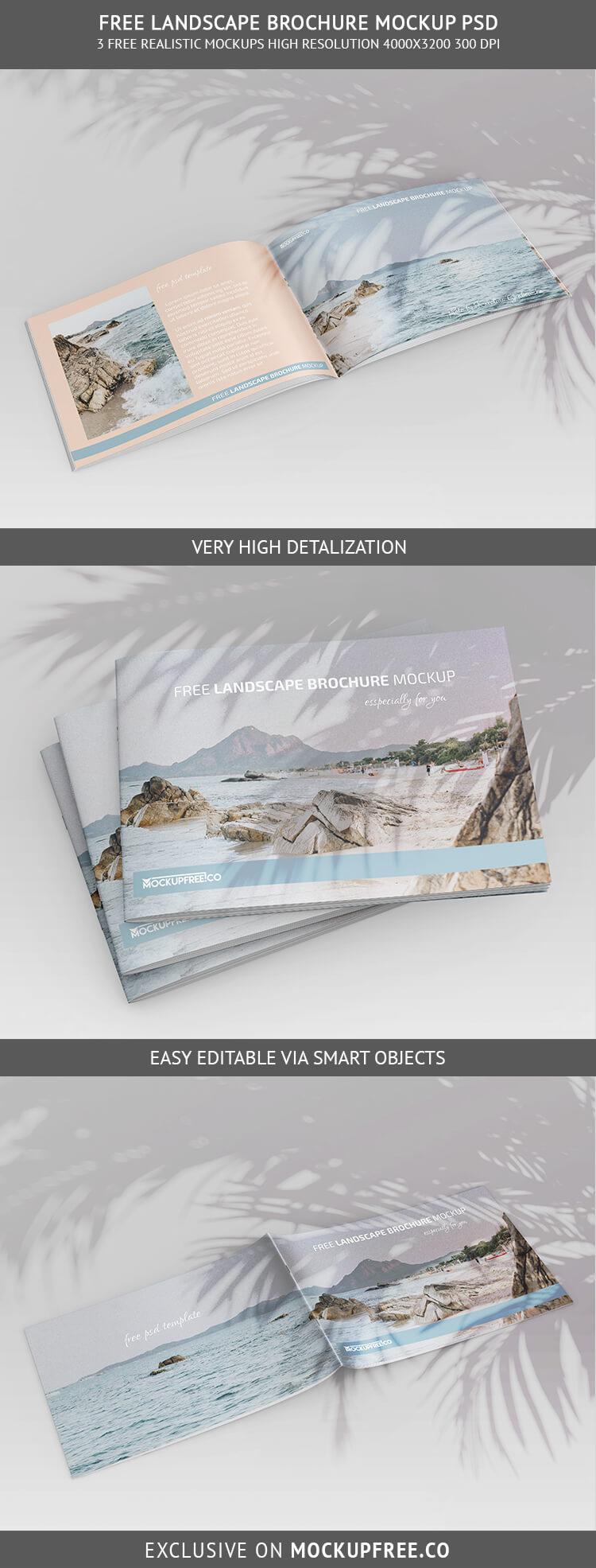 Free Landscape Brochure Mockup in PSD