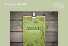 Free Menu Mockup in PSD