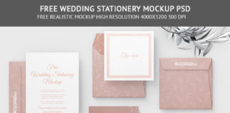 Free Wedding Stationery PSD Mockup