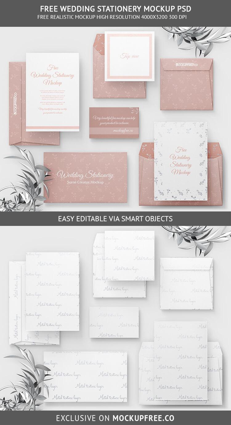Free Full Set Wedding Stationery Mockup