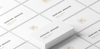 Free White Isometric Business Cards Mockup (PSD)