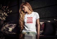 Free Young Woman T-Shirt Mockup (PSD)
