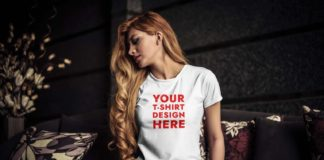 Free Young Woman T-Shirt Mockup (PSD)