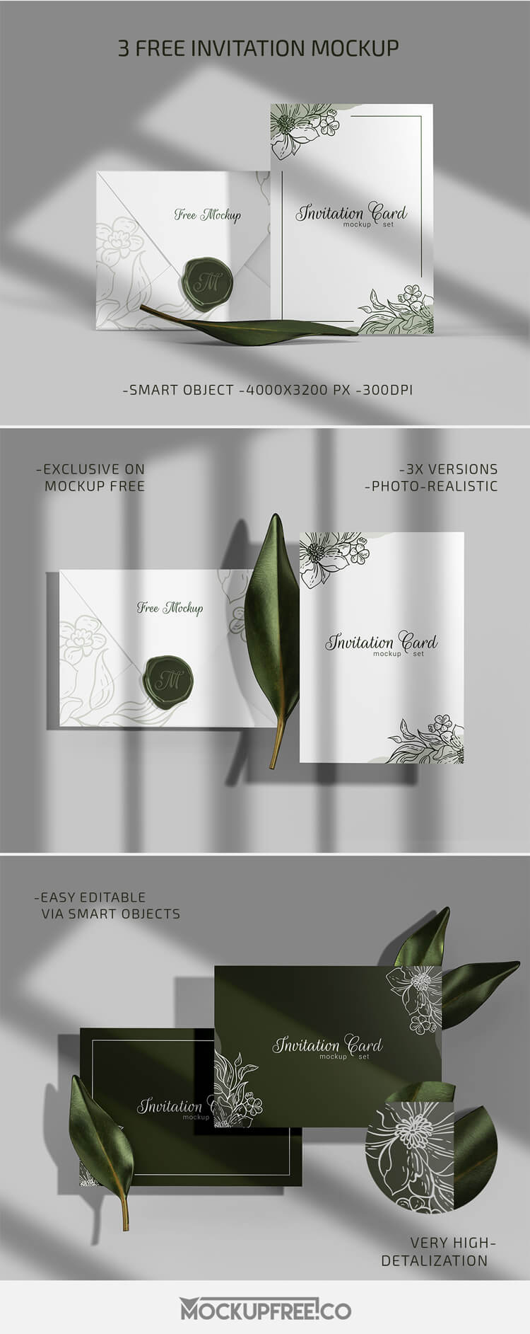 Invitation – 3 Free PSD Mockups