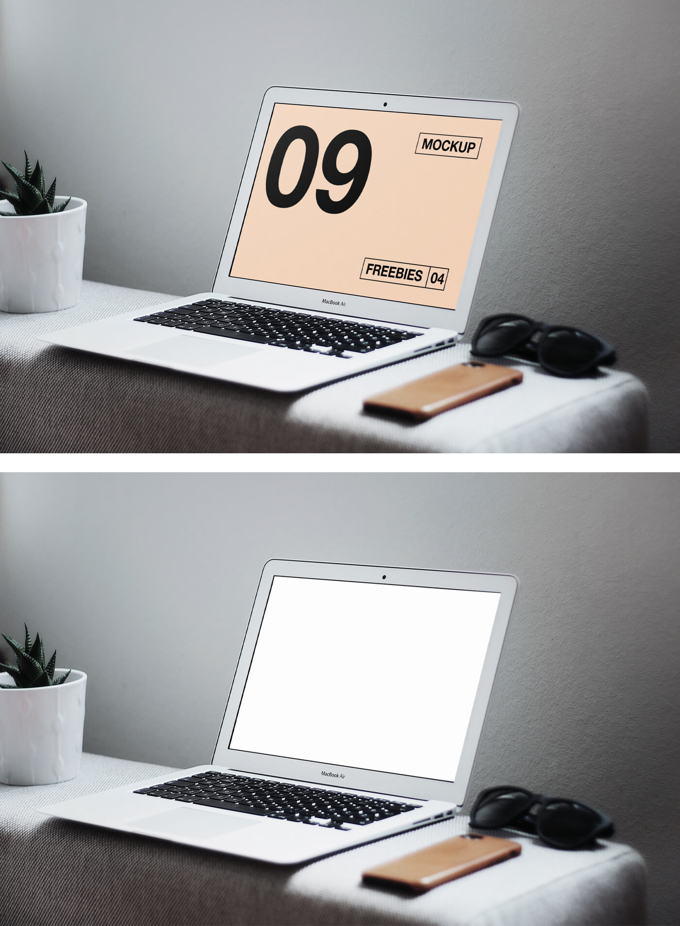 Free Wonderful MacBook Air on Table Mockup PSD Template