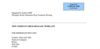 New Company Press Release Template