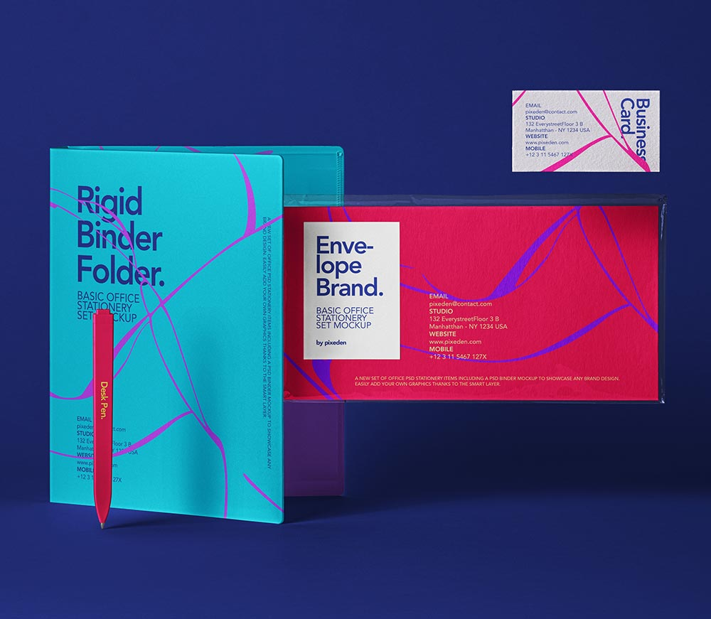 Free Colorful Office Stationery Mockup PSD Template