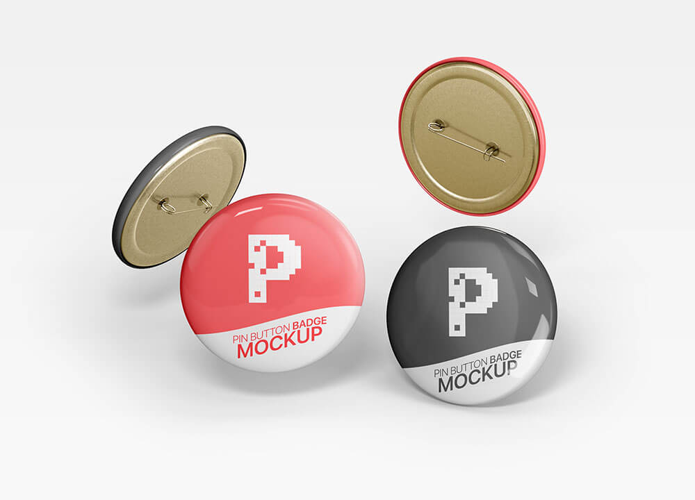 Free Pin Button Badge Mockups PSD Template