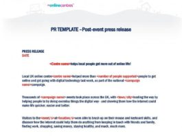 Post Event Press Release Template in DOC