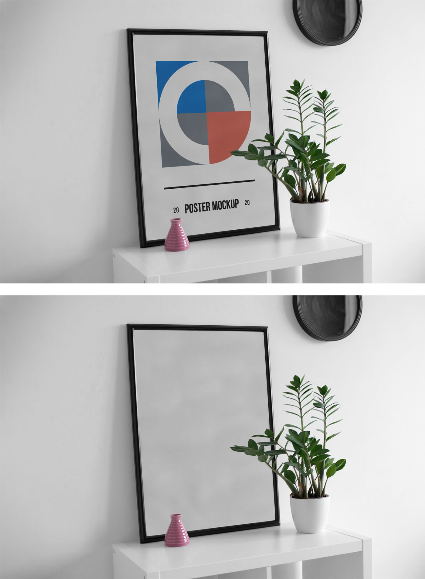 Free Side view Poster on Desk  Mockup PSD Template