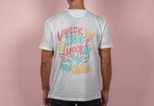 Back V-Neck Psd T-Shirt Mockup