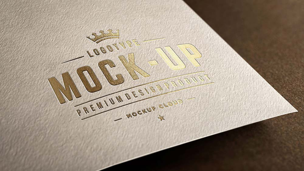 Free Golden Close-up Logo Mockup PSD Template