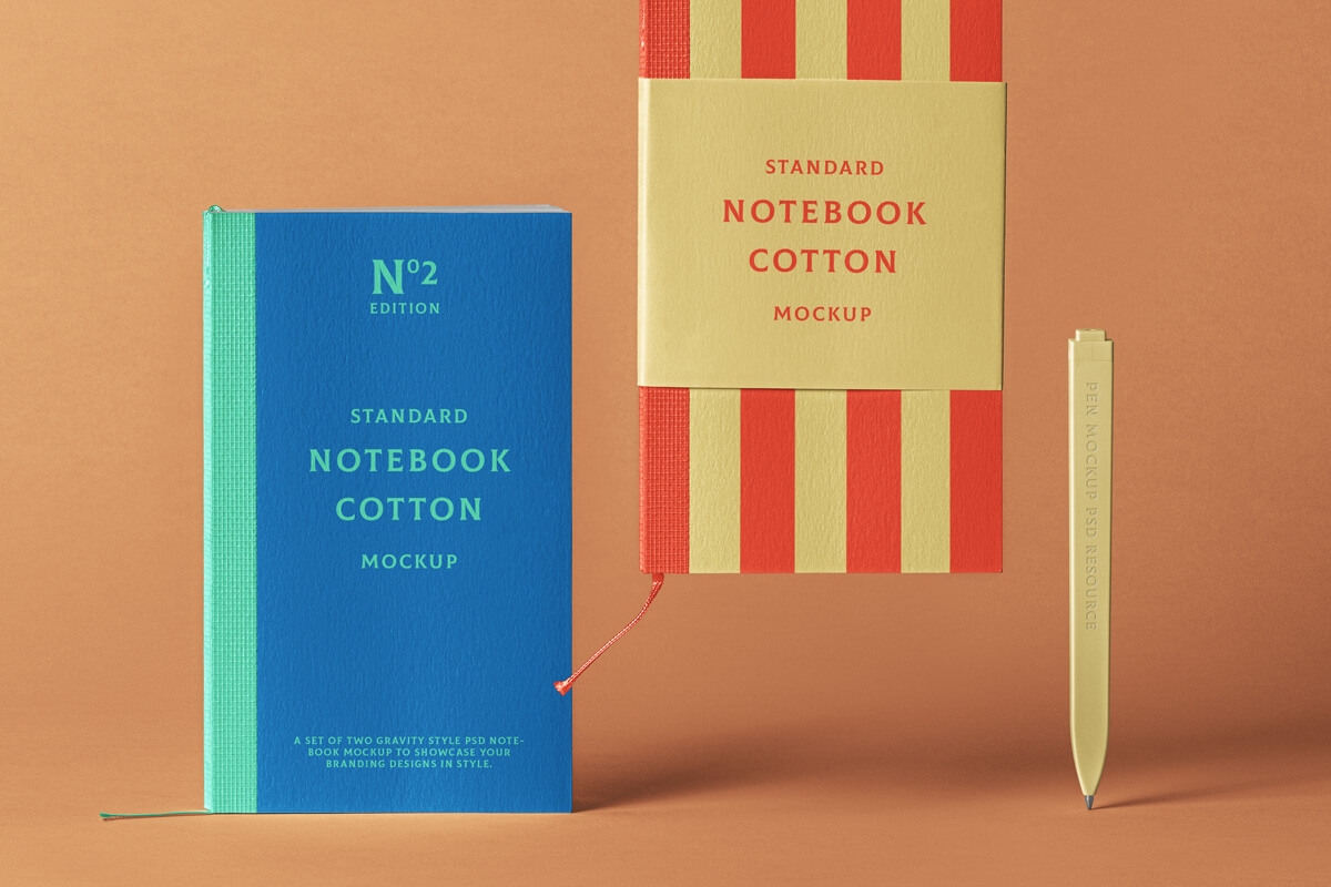 Free Cotton Notebook Mockup PSD Template
