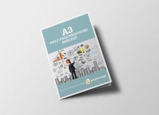Half-fold brochure mockup free