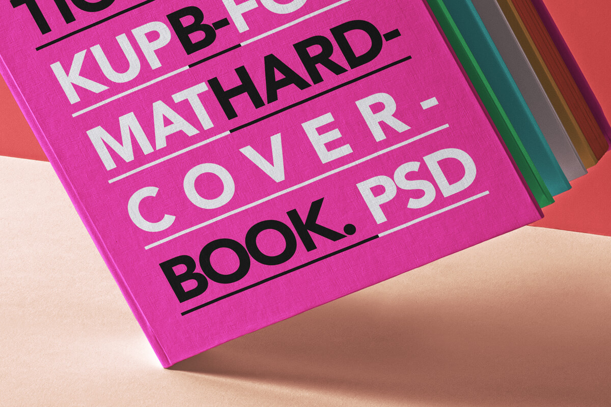 Free Colorful Hardcover Book Mockup PSD Template