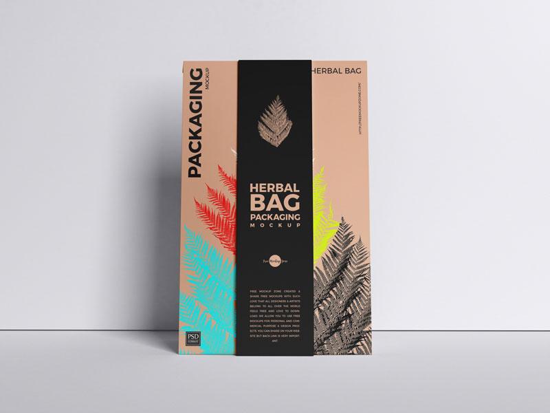 Free Beautiful Herbal Bag Packaging Mockup