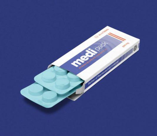 Pharmaceutical Pills Packaging Box Mockup