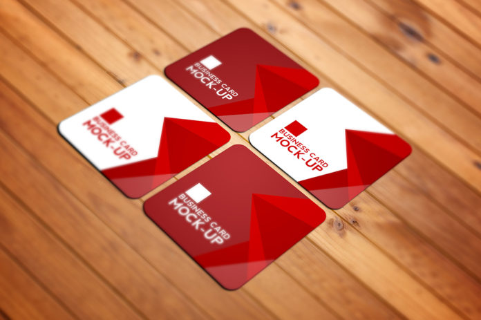 Free Square Business Card Mockup PSD Template